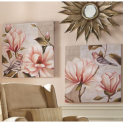 Handpainted Floral and Bird Canvases