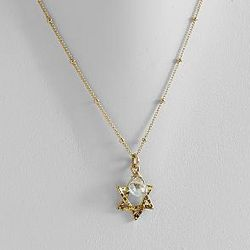 Gold Star of David Necklace with Stone