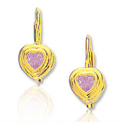 14K Yellow Gold Pink Sapphire Children's Earrings