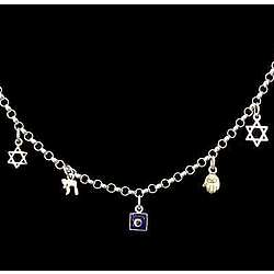 Sterling Magen David, Chai and Hamsa Charm Bracelet