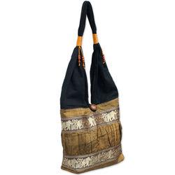 Gold Elephant Parade Silk and Cotton Shoulder Bag