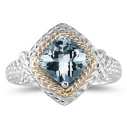 1.5 ct Aquamarine Ring in 14k Yellow Gold and Silver