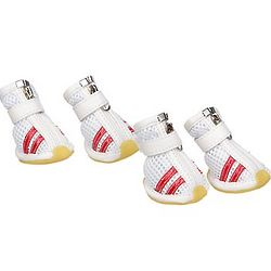 White and Red Mesh Medium Dog Shoes