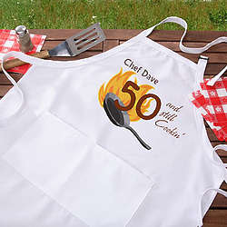 Personalized Still Cooking Birthday BBQ Grill Apron