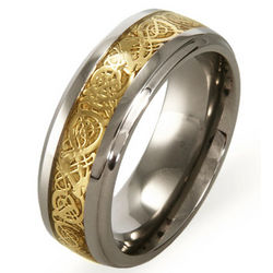 Engravable Golden Dragon Design Titanium Comfort Fit Band