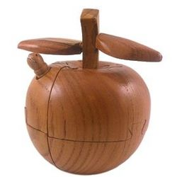 Three Dimensional Wooden Apple Puzzle