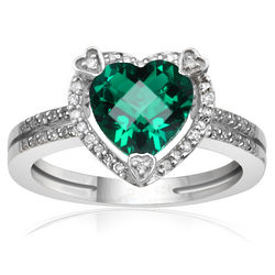 Diamond and Created Emerald Birthstone Heart Ring