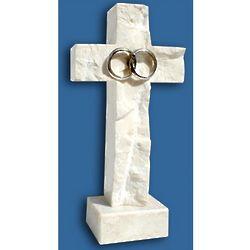 Silver Wedding Bands on Standing Jerusalem Stone Cross
