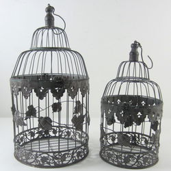 Weathered Stainless Steel Decorative Bird Cages