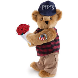 "15"" Right to Teddy Bear Hugs with Roses"