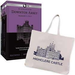Downton Abbey Seasons 1-3 DVDs with Highclere Tote Bag