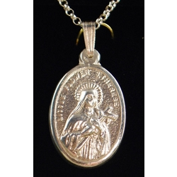 Sterling Silver St Therese - Virgin of Carmel with Chain