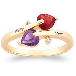Couple's Birthstone Hearts Name Ring with Diamond Accent