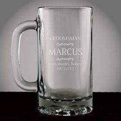 Personalized Groomsman Glass Beer Mug