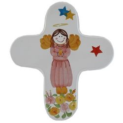 Girl Angel with Flowers and Stars Ceramic Cross