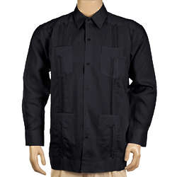 Long Sleeve Linen Black Guayabera Shirt