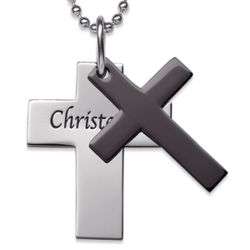 Engraved Stainless Steel Double Cross Dog Tag