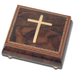 Inlaid Cross Design Music Box