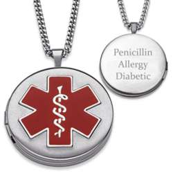 Personalized Medical Alert Engraved Locket Necklace