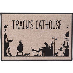 Too Many Cats Personalized Doormat