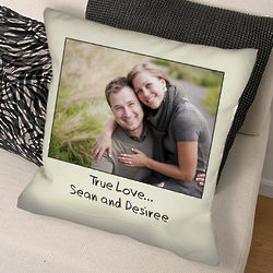 Custom Message Photo Throw Pillow