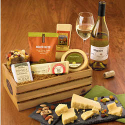 Gourmet Cheese Gift Basket with Wine