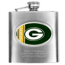 Engraved Stainless Steel Green Bay Packers Flask