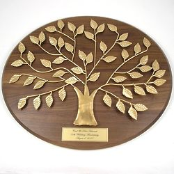 50th Anniversary Gold Family Tree with Engraved Plaque