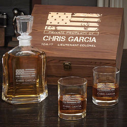 American Heroes Personalized Whiskey Military Gift Set