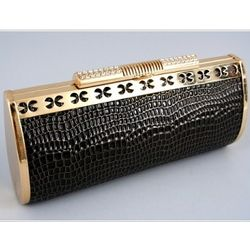 Black & Gold Clutch Handbag with Detachable Chain
