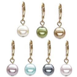 7 Pair Color Sim Pearl Leverback Earring Set