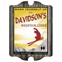 Personalized Vintage Ski Lodge Pub Sign