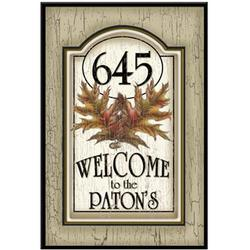 Personalized Oak Leaf Wood Address / Welcome Sign
