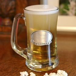 Personalized Pewter Medallion Beer Mug