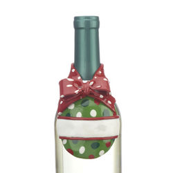 Polka Dot Bow Christmas Ornament for a Bottle of Wine