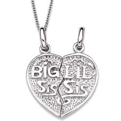 Sterling Silver Big Sis and Lil Sis Breakable Heart Necklace