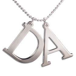 Couple's Sterling Silver Initials Necklace