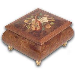 Wood Violin Musical Jewelry Box