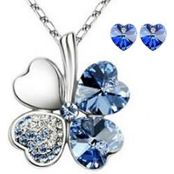 Blue Lucky Sweethearts 18K Gold Plated Heart Necklace & Earrings