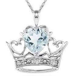 Aquamarine and Diamond Crown Heart Pendant in 10K White Gold