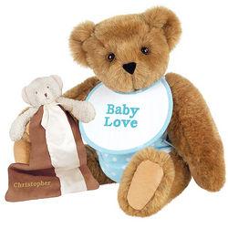 Blue Baby Shower Teddy Bear with Buddy Blanket