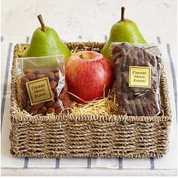 Simply Fresh Fruit and Pretzels Gift Box with Personalized Ribbon