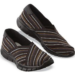 Striped Elastic Slip-On Shoes