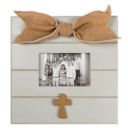 Inspirational Cross Picture Frame with Gray Horizontal Design