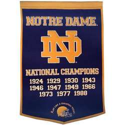 University of Notre Dame Vintage Wool Dynasty Banner