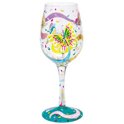Social Butterfly Hand-Painted Wine Glass