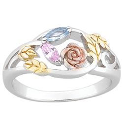 Sterling Silver Couple's Tricolor Marquise Birthstone Ring