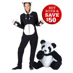 Wildlife Collection Panda Bear and Panda Hoodie Footie - FindGift.com