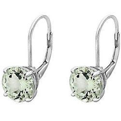 Green Amethyst Earrings 4 Carat in Sterling Silver