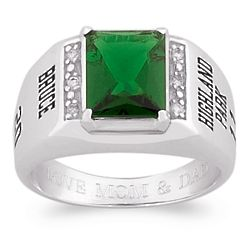 Men's Celebrium Emerald-Cut Stone and Cubic Zirconia Class Ring
